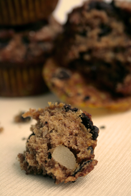 Macadamia nut in a sweet potato chocolate muffin